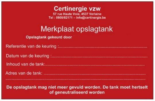 rood merkplaatje stookolietankkeuring